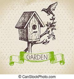 jardinagem, esboço, desenho, experiência., vindima, mão, desenhado