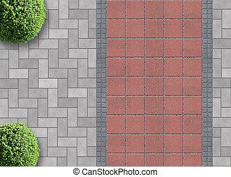 jardinagem, exterior, de cima