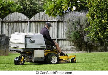 jardinagem, gramado, -, mower