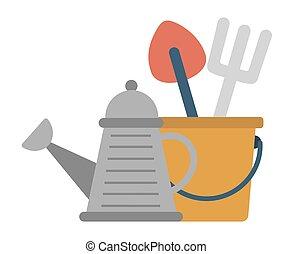 jardinagem, lata, instrumentos, ferramentas, aguando