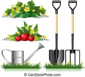jardinagem, relatado, itens