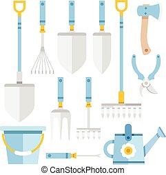 jardinagem, set., ferramentas, apartamento, ícones