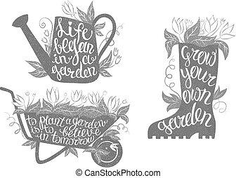 jardinagem, tipografia, cartazes, set., cobrança, de, jardinagem, anuncia, com, inspirational, quotes.