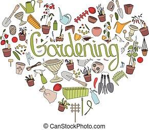 jardinagem, tools., texto, jardinagem, em, forma coração