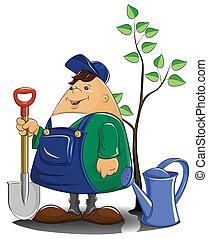 jardineiro, com, pá, lata molhando, e, árvore