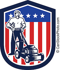 jardineiro, cortando gramado, mower, bandeira, retro