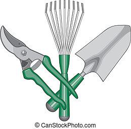jardineiro, dê ferramentas, logotipo