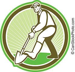 jardineiro, landscaper, cavando, pá, círculo