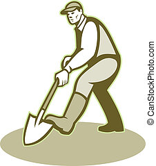 jardineiro, landscaper, cavando, pá, retro