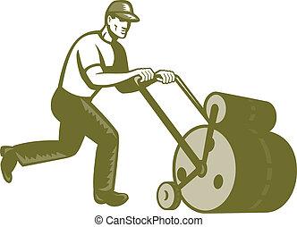 jardineiro, landscaper, empurrar, gramado, rolo, retro