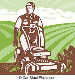 jardineiro, landscaper, montando, mower gramado, retro
