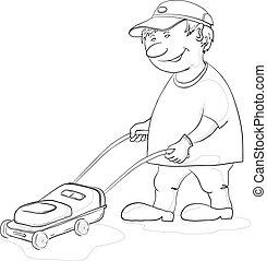 jardineiro, lawn-mower, contorno
