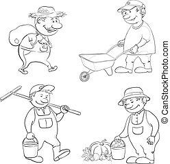 jardineiros, cartoon:, trabalho, esboço