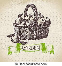jardinería, bosquejo, diseño, fondo., vendimia, mano, ...