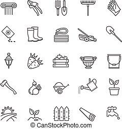 jardinería, conjunto, herramientas, iconos, -, flores