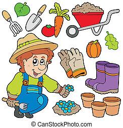 jardinero, con, vario, objetos
