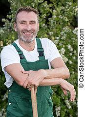 jardinero, se inclinar macho, manija, herramienta, el suyo, ...