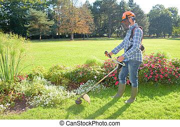 jardinero, trabajo encendido, el, sedimento