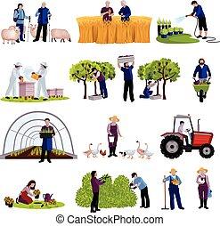 jardineros, granjeros, colección, iconos, plano
