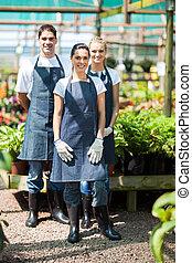 jardineros, retrato, grupo, invernadero