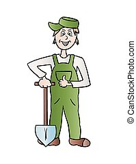jardinier, bêche, homme