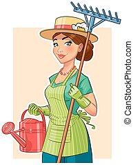 jardinier, girl, à, râteau, et, arrosoire