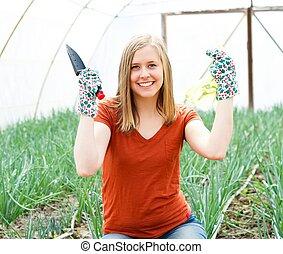 jardinier, heureux