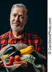 jardinier, légumes frais, beau, personne agee, automne