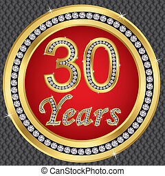 jaren, birthda, jubileum, 30, vrolijke