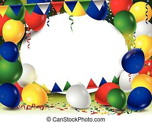 jarig, achtergrond, met, ballons