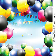 jarig, achtergrond, met, balloon