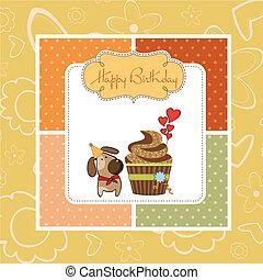 jarig, begroetende kaart, cupcake