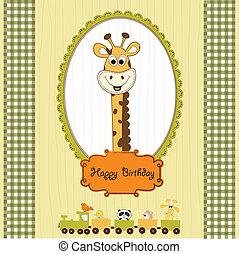 jarig, begroetende kaart, met, giraffe, en, dieren, trein
