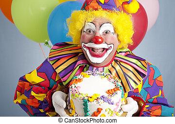 jarig, clown, met, leeg, taart