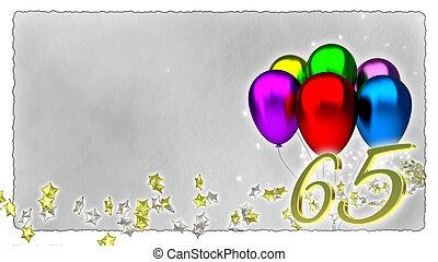 jarig, concept, met, kleurrijke, baloons, -, 65th