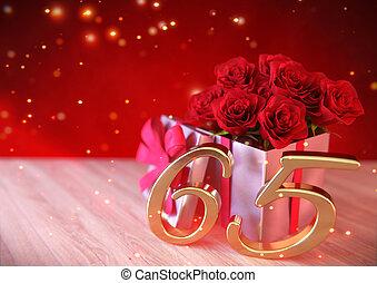 jarig, concept, met, rode rozen, in, cadeau, op, houten, desk., sixtyfifth., 65th., 3d, render