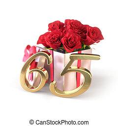 jarig, concept, met, rode rozen, in, cadeau, vrijstaand, op wit, achtergrond., sixtyfifth., 65th., 3d, render