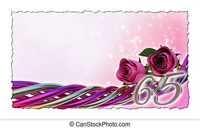 jarig, concept, met, rooskleurige rozen, en, vonken