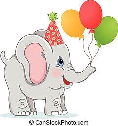 jarig, elefant, met, ballons