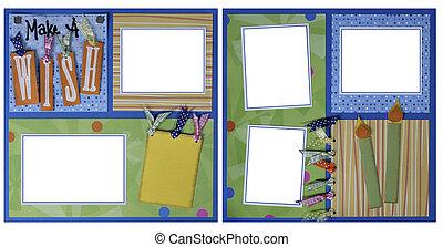 jarig, thema, plakboek, frame, mal