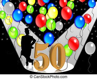 jarig, uitnodiging, 50, jaren