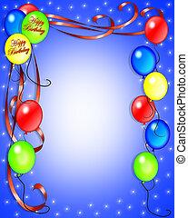 jarig, uitnodiging, ballons