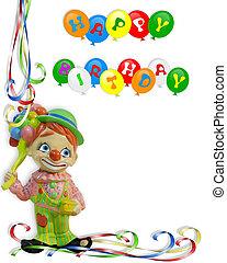 jarig, uitnodiging, clown, kind