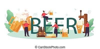 jarra, arte, botella, cerveza, tipográfico, vidrio, header., vendimia