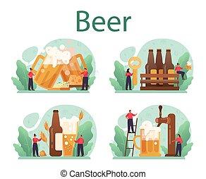 jarra, arte, botella, set., cerveza, alcohol, vidrio, concepto, vendimia