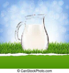 jarra, con, leche, y, pasto o césped