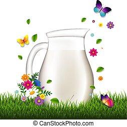 jarra, con, leche, y, pasto o césped, y, flores, fondo blanco