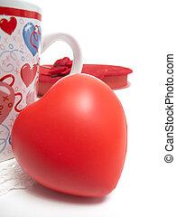 jarra, corazón, y, caja, de, chololates