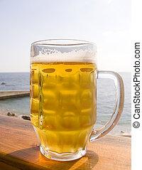 jarra, de, cerveza fría