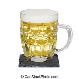 jarra, de la luz, shandy, cerveza, en, pizarra, estera,...